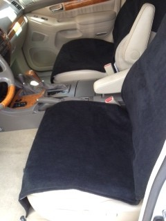 Fleece Slip-On Pancho Bucket Seat Cover (Pair)-Black