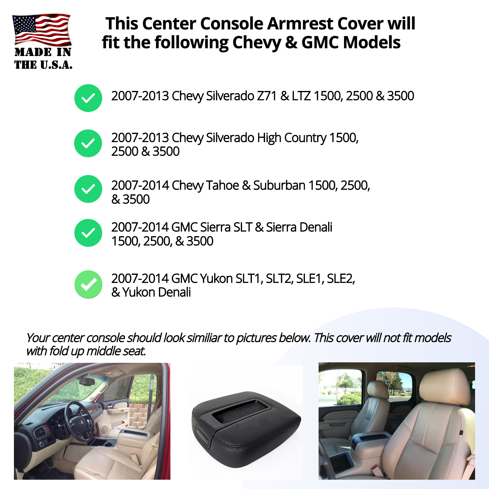 Buy Fleece Center Console Armrest Cover Fits the (2007-2014) Chevy Suburban 1500, 2500, 3500