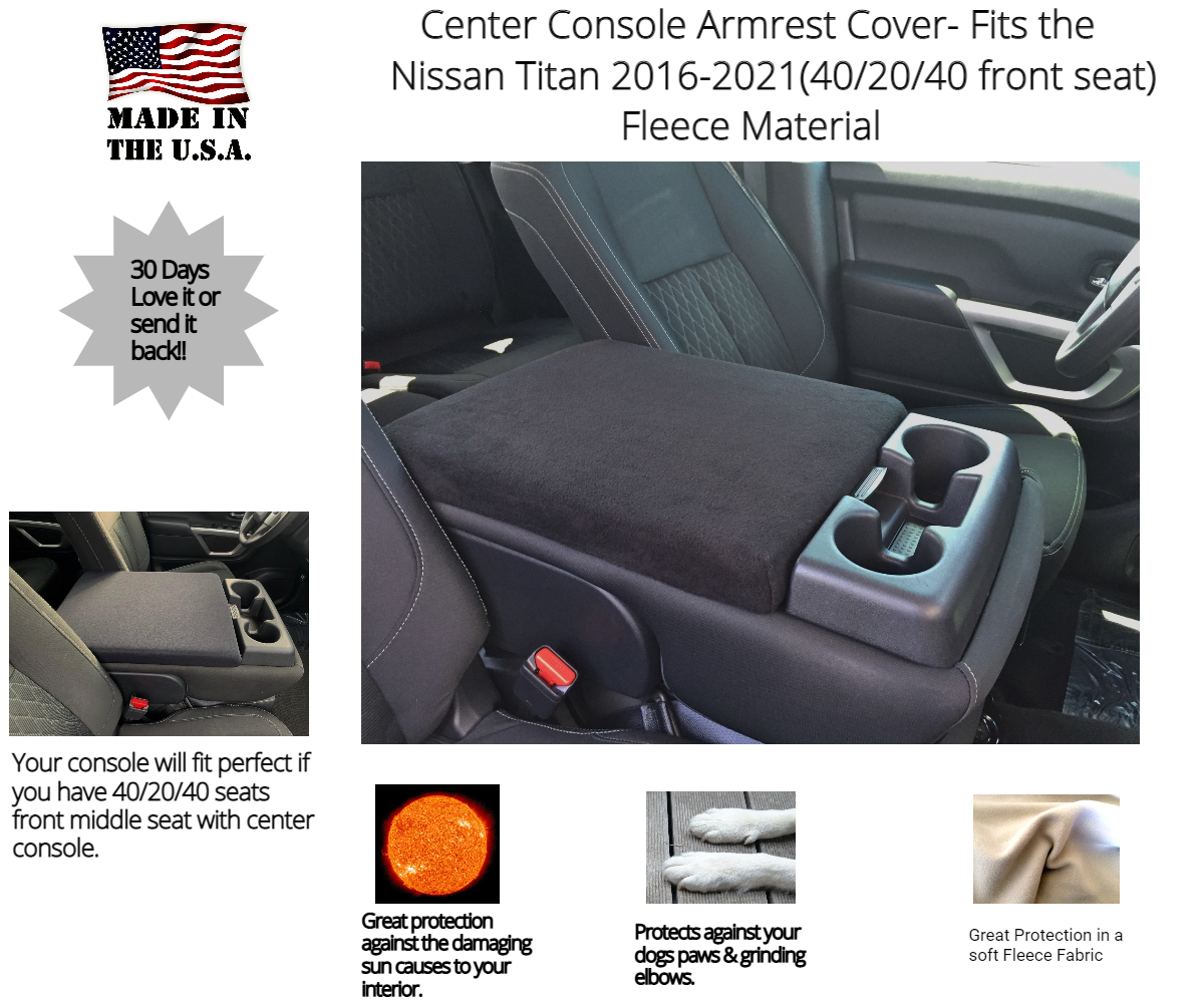 Buy Fleece Center Console Armrest Cover Fits the Nissan Titan 2014-2021 (With Front Middle Seat)