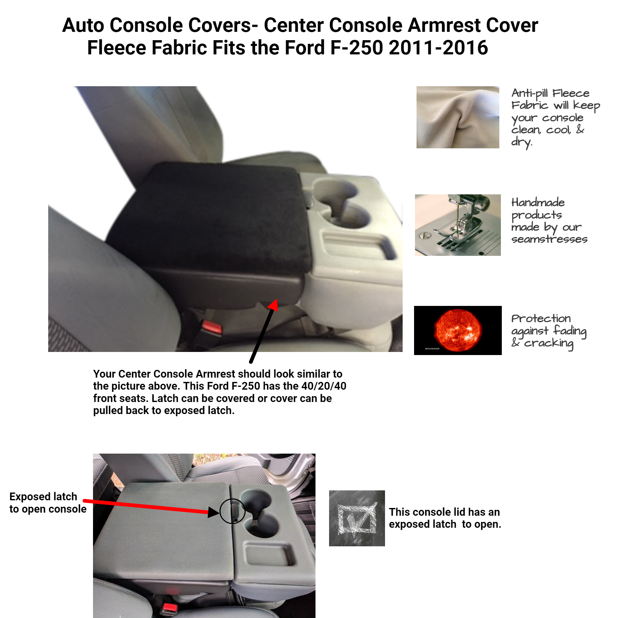 Buy Fleece Center Console Armrest Cover fits the Ford F-250 2011-2016 Fold down middle seat with a console box