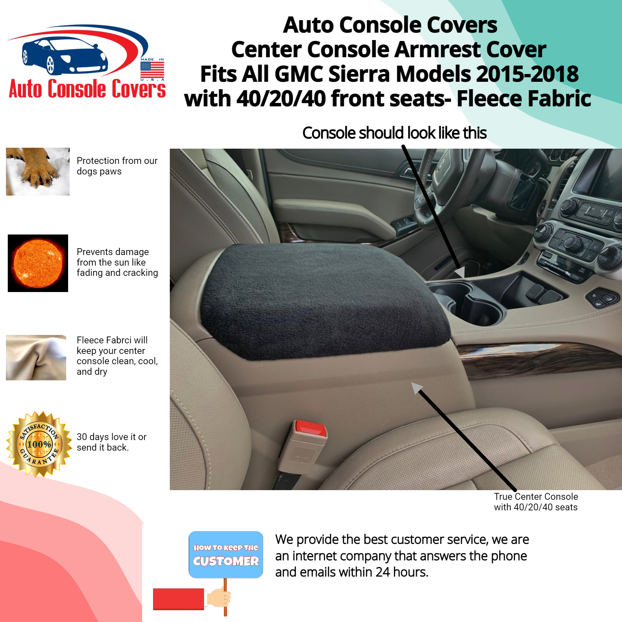 Buy Fleece Center Console Armrest Covers fits the GMC Sierra Denali, 2015-2018