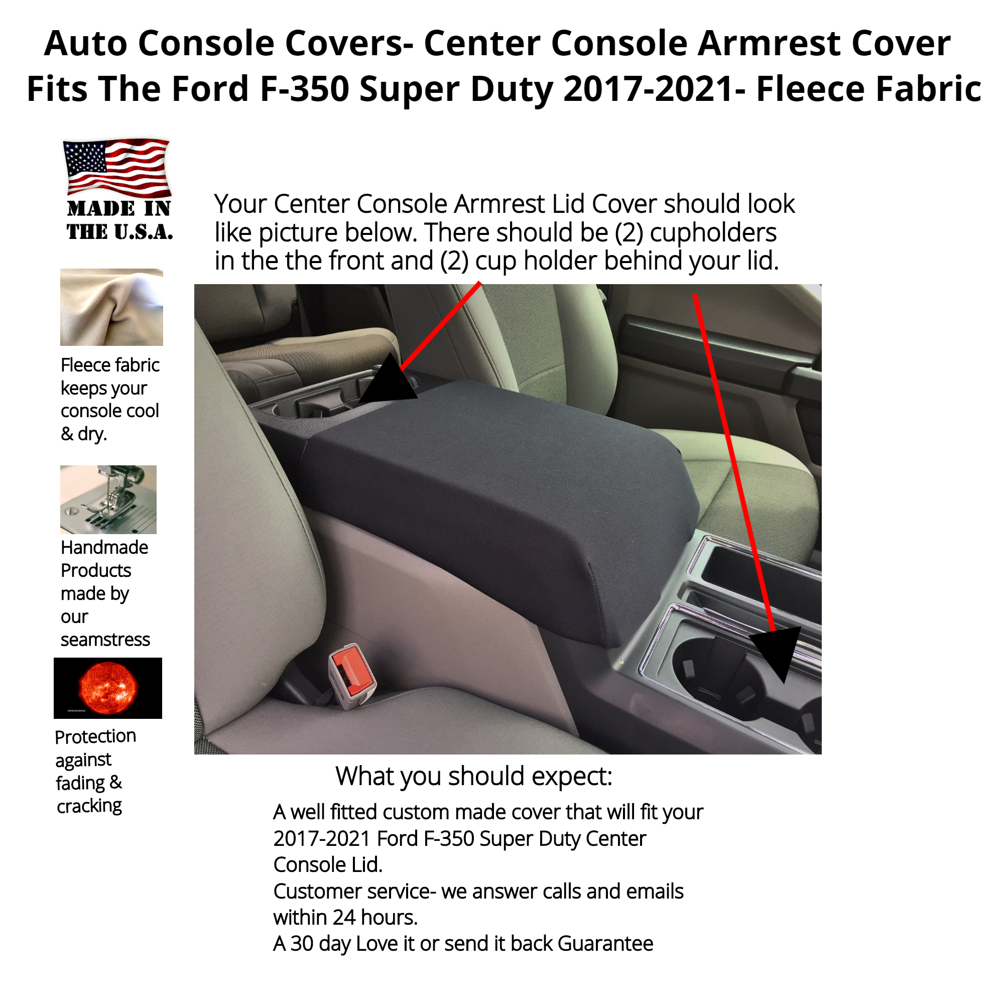 Buy Fleece Center Console Armrest Cover fits the Ford F-350 Super Duty 2017-2021