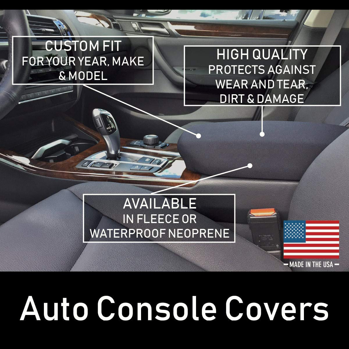 Buy Neoprene Center Console Armrest Cover Fits the Chevrolet Silverado High Country (Double Cab) 2020-2021