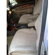Terry Cloth Slip-On Pancho Bucket Seat Cover (Pair) -Tan